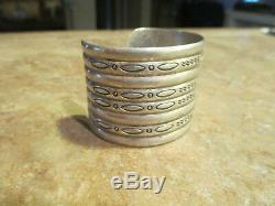 Splendid Wide OLD Fred Harvey Era Navajo Sterling Silver STAMPED DESIGN Bracelet