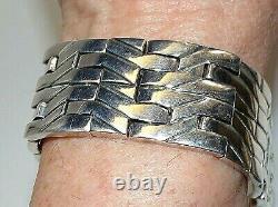 Sterling 950 Silver Taxco Mexico Fred Harvey Era Heavy Large Link Bracelet 161gr
