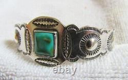 Sterling Silver Cerrillos Turquoise Stone Navajo Indian Bracelet Fred Harvey Era
