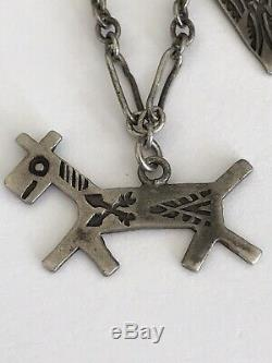 Sterling Silver Charm Bracelet Fred Harvey Era Thunderbird Dog Arrowhead 5.2 Gr