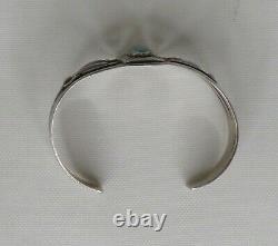 Sterling Silver Fred Harvey Era Ovoid Turquoise Cuff Bracelet