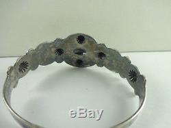 Sterling Silver Fred Harvey Era Whirling Log Stamped Turquoise Bracelet 6 RARE