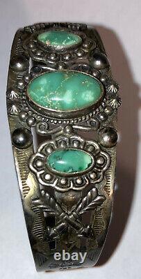 Sterling Silver Navajo Old Pawn Fred Harvey Era Thunderbird Turquoise Bracelet
