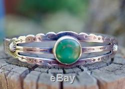 Sterling Silver Turquoise Bracelet Cuff Cutout FRED HARVEY Handmade RRL Old Pawn