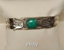 Sterling Silver Vintage- Fred Harvey Era- Green Turquoise Southwest Style Cuff