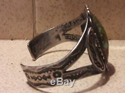 Sterling silver turquoise fred harvey cuff bracelet 40.1 grams