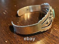 Stunning Navajo Bell Sterling Silver Turquoise Bracelet Fred Harvey Old Pawn