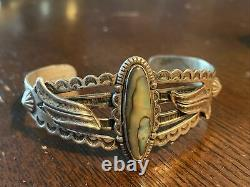 Stunning Navajo Sterling Silver Mother of Pearl Bracelet Fred Harvey Old Pawn