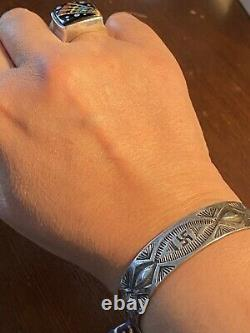 Superb Early Navajo Coin Silver WHIRLING LOG Bracelet Fred Harvey Era pre-1930s