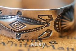 Superb Early Navajo Whirling Log Sterling Silver Cuff Bracelet