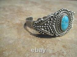 TANTALIZING OLD Fred Harvey Era Navajo Silver Arrow Sterling Turquoise Bracelet