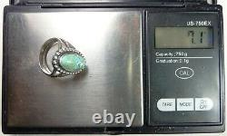 TWO Fred Harvey Era Navajo Turquoise TWO SIGNED Sterling Silver FOUR Ring Lot