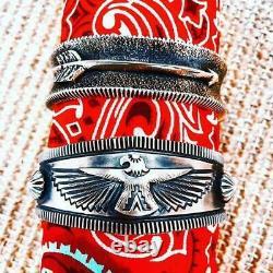 Thunderbird Cuff Navajo Delbert Gordon Sterling Silver Fred Harvey Modern Design