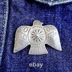 Thunderbird Pin Fred Harvey Era Concha Style Sterling Silver LARGE Vintage RARE