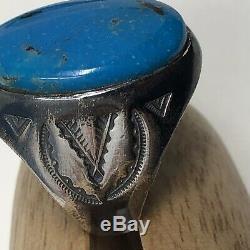 Turquoise Mens Ring Sterling Silver Vintage Estate Vintage Fred Harvey SZ 11