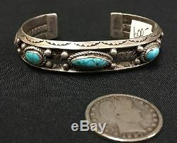 Turquoise & Sterling Silver Bracelet Old School Piece From the Fred Harvey Era