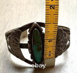 Turquoise Sterling Silver Navajo Fred Harvey Era Bell Trading Post Cuff Bracelet