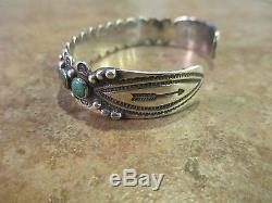 ULTRA PREMIUM OLD Fred Harvey Era ZUNI Sterling Silver Turquoise ROW Bracelet