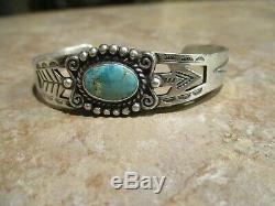 UNUSUAL OLD Fred Harvey Era Navajo Sterling Silver Turquoise ARROW Bracelet