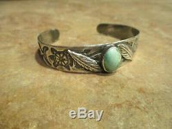 UNUSUAL OLD Fred Harvey Era Navajo Sterling Silver Turquoise FEATHER Bracelet