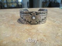 VALIANT OLD 1940's Fred Harvey Era Navajo Sterling Silver THUNDERBIRD Bracelet