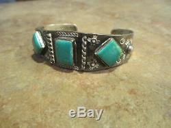 VERY NICE OLD Fred Harvey Era Navajo Sterling Silver Turquoise Bracelet