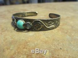 VERY OLD Fred Harvey Era Navajo Silver Turquoise WHIRLING LOG SNAKE Bracelet