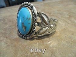 VIBRANT Old Fred Harvey Era Bell Navajo Sterling Silver Turquoise Bracelet