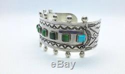 VINTAGE Fred Harvey Gem Turquoise Sterling Silver Cuff Bracelet. Whirling Logo