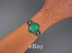 VINTAGE NAVAJO Fred Harvey Sterling Silver RARE Cerrillos Turquoise Cuff Sz6.25