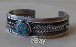 VINTAGE Navajo Fred Harvey Silver LG Persian Turquoise Stone Bracelet 1930's