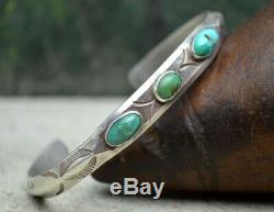 VTG 1920's Navajo Fred Harvey Silver Turquoise Native Flat Top Whirling Log Cuff
