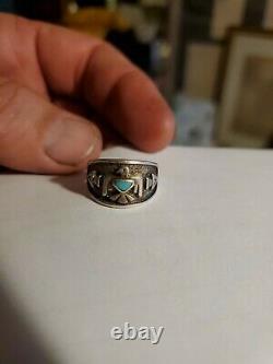 VTG Fred Harvey Era Sterling Silver 925 Thunderbird Ring Size 7