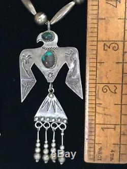 VTG Fred Harvey Sterling Silver Turquoise Thunderbird Necklace And Earrings Set