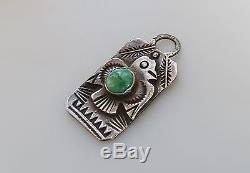 VTG Fred Harvey Sterling silver dog tag charm / pendant thunderbird turquoise