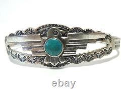 VTG Fred Harvey era Sterling Silver Turquoise THUNDERBIRD Navajo Bracelet