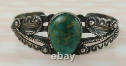 VTG Fred Harvey rope bird green turquoise sterling silver Navajo cuff bracelet