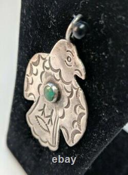 VTG NAVAJO FRED HARVEY Era THUNDERBIRD Sterling Silver Design Pendant Unmarked