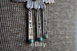 VTG Navajo Fred Harvey Silver Turquoise Native Thunderbird Whirling Log Necklace