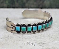 VTG Navajo Old Pawn 14 Turquoise Row Cuff Bracelet Fred Harvey Era Silver Arrows