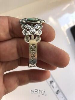 VTG Navajo Old Pawn Fred Harvey Antique 900 Coin Silver Turquoise Cuff Bracelet