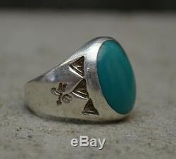 VTG Navajo Old Pawn Fred Harvey Era Silver & Turquoise Mens Trading Post Ring 7