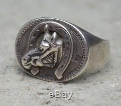 VTG Old Pawn Fred Harvey Era Sterling Silver Cigar Band HORSE SHOE Biker Ring 11