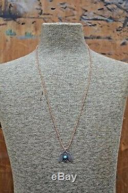 VTG Old Pawn Navajo Necklace Silver & Turquoise Fred Harvey Thunderbird Pendant