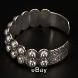VTG Sterling Silver NAVAJO Fred Harvey Era Repousse 6.5 Cuff Bracelet 37g