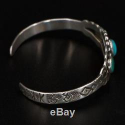 VTG Sterling Silver NAVAJO Fred Harvey Era Turquoise 5.75 Cuff Bracelet 10g