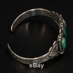 VTG Sterling Silver NAVAJO Fred Harvey Era Turquoise 6 Cuff Bracelet 19.5g