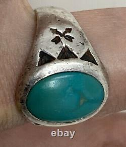 VTG Sterling Silver Native American Fred Harvey Era Cigar Band Turquoise Ring