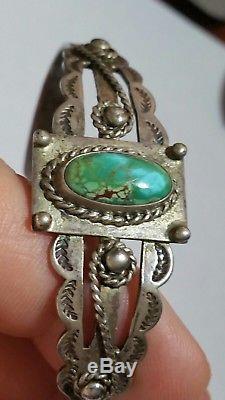 VTG Turquoise Fred Harvey Era Sterling Silver Ladies Bracelet