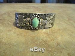Very OLD Fred Harvey Era NAVAJO Silver Turquoise Applied Thunderbird Bracelet